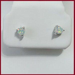 White  Fire Opal Heart Stud Earrings